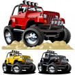 Vector cartoon jeep one click repaint — Stock Vector