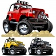 Stock Vector: Vector cartoon jeep one click repaint