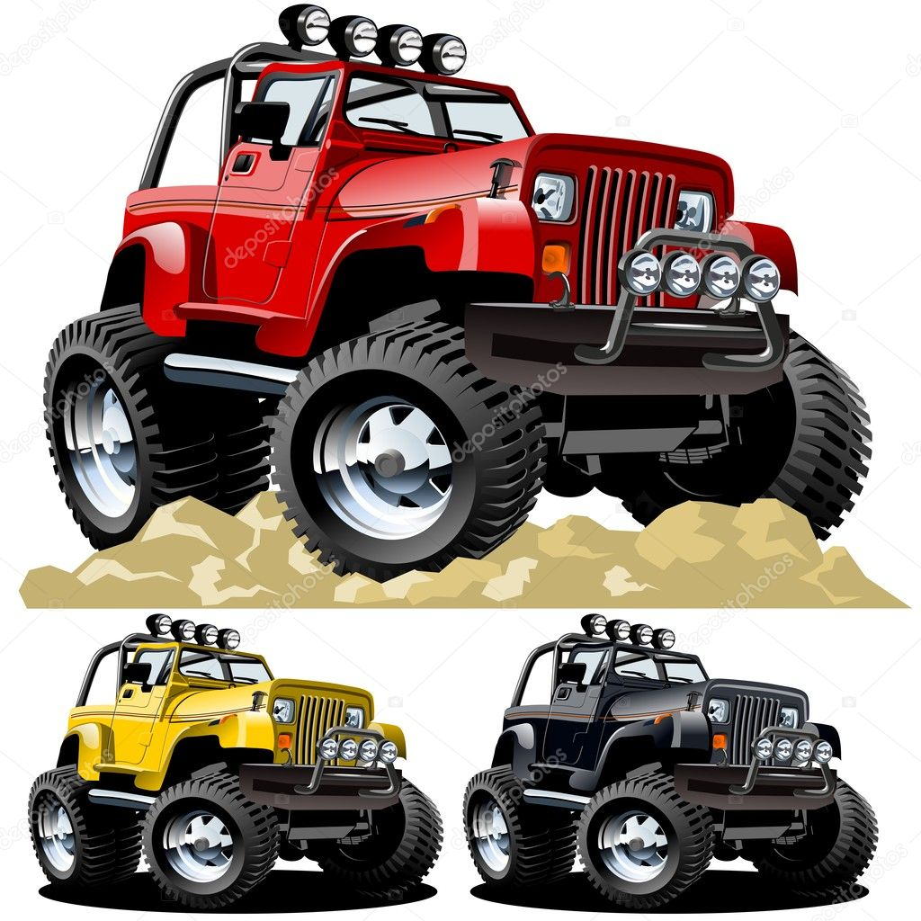 Vector cartoon jeep. Available ai-cs4 vector format separated by