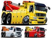 Vector cartoon tow truck. One-click repaint — Stock Vector