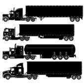 Conjunto de silhuetas de caminhões detalhada do vetor — Vetorial Stock