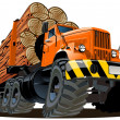 Vector cartoon logging truck - Stock Vector