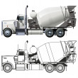 Stock Vector: Vector concrete mixer truck