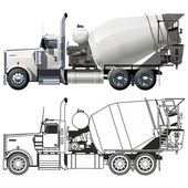 Vector concrete mixer truck — Stockvector