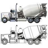 Vector concrete mixer truck — Stock Vector