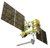 Moderne navigationssatellit isoliert auf weiss — Stockfoto