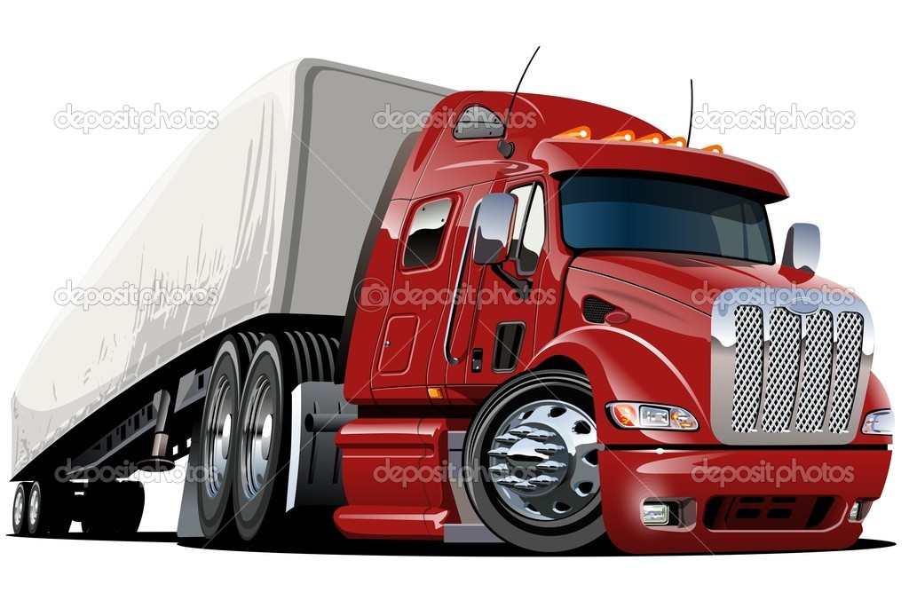 Vector cartoon semi truck. Available ai-cs4 vector format separated by groups with transparency effects for one click repaint. — Stock Vector #9347761
