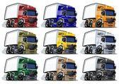 Cartoon trucks set — Stock Photo