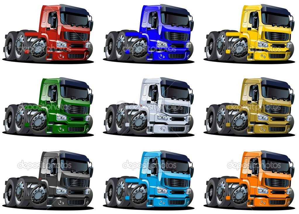 Cartoon semi trucks set isolated on white background — Stock Photo #9443551