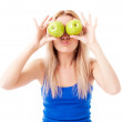 Woman holding two apples — Stock Photo #10072035