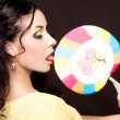 Woman with lollipop - Lizenzfreies Foto