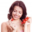Woman with tomatoes — Stock Photo