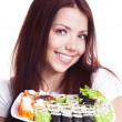 Stock Photo: Woman with sushi