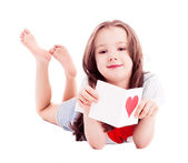 Girl with a Valentine's card — Stock Photo