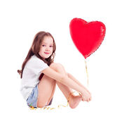 Menina com um balão — Fotografia Stock