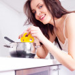 Stock Photo: Woman cooking