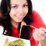 Woman eating spaghetti — Stock Photo #8683290