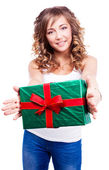 Woman with a present — Fotografia Stock