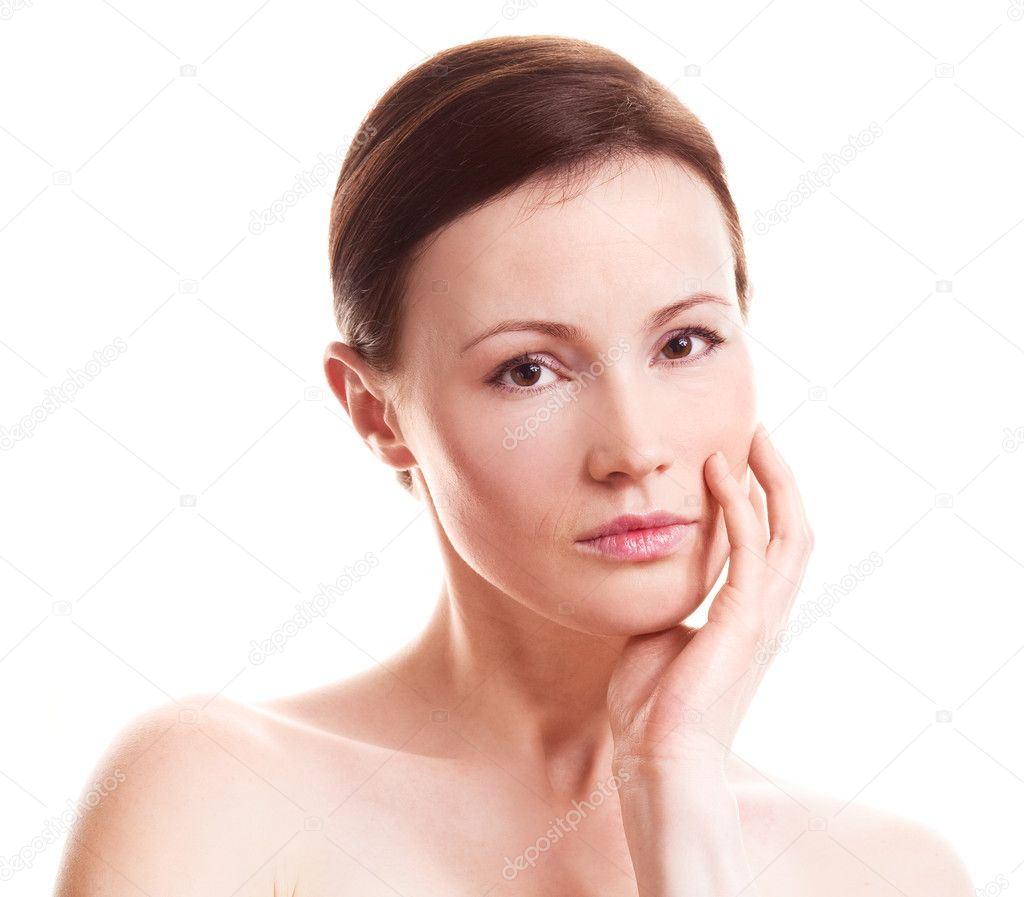 Beautiful sad adult woman isolated against white background — Stock Photo #8750898