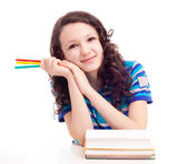 Schoolgril with books — Stock Photo