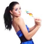 dívka s lízátko — Stock fotografie