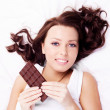 Woman with chocolate — Stock Photo #8990569