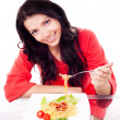 Woman eating spaghetti — Stock Photo