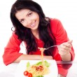 Woman eating spaghetti — Stock Photo #9470515