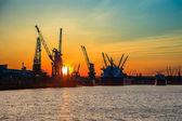 Port of Gdansk at sunset — Stock Photo