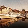 Stock Photo: Gdansk of Riverside in retro style