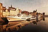 Gdańsk z riverside w stylu retro — Zdjęcie stockowe