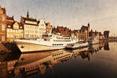 Gdansk of Riverside in retro style — Stock Photo