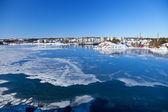 Porto banchina coperta di ghiaccio. — Foto Stock