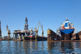 Ship in dry dock — Stock Photo