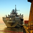 Stock Photo: Warship in port