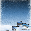 Ice background with film frames — Stock Photo