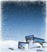 Ijs achtergrond met film frames — Stockfoto