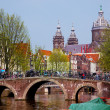Amsterdam old town canal, boats. — Stock Photo #10668783