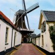 Windmill, historic small village in Netherlands — Stock Photo