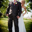 Happy bride and groom after wedding — Stock Photo