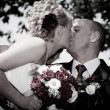 Stock Photo: Happy bride and groom kissing