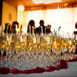 Stock Photo: Champagne glasses at party