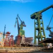 Cranes at shipyard, Gdansk, Poland — Stock Photo