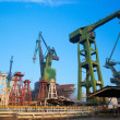 Cranes at shipyard, Gdansk, Poland - Stock Photo