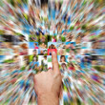 Social media and hand selecting — Stock Photo