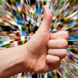 Social media and hand LIKE gesture — Stock Photo