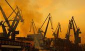 Cranes at shipyard, Gdansk, Poland — Stock Photo