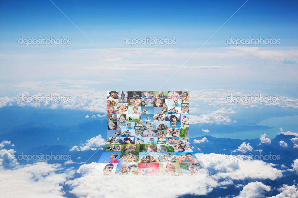 Social media concept. Computer made of photos of FRIENDS on cloud, blue sky — Stock Photo #8958162