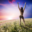Happy sexy girl topless on field — Stock Photo