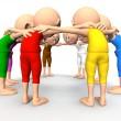 Team spirit, business debate. 3d little humans — Stock Photo